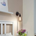 Black Wire Frame Wall Sconce Light Industrial Stylish 1/2-Bulb Metal Wall Mounted Lamp with Plug in Cord for Bedroom