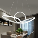 Seamless Curve Hanging Light Fixture Minimalist Acrylic White LED Chandelier Light in White/Warm Light