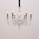 12 Heads Swirling Arm Chandelier Lamp Tradition White/Red/Blue Glass Ceiling Hanging Light for Dining Room