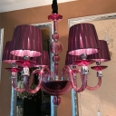 Purple Glass Starburst Hanging Chandelier Tradition 6/8/10 Bulbs Ceiling Suspension Lamp with Conical Fabric Shade