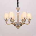 White 6/8/12 Heads Chandelier Lighting Traditional Fabric Tapered Ceiling Pendant Light