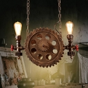 2-Light Pipe Ceiling Pendant Light Vintage Steel Gear Hanging Light Fixtures with Chain for Indoor