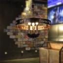 3 Lights Chandelier Pendant Light Vintage Caged Metal Hanging Fixture in Antique Bronze for Restaurant