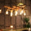8 Lights Ceiling Chandelier Industrial Style Globe Metal Pendant Lamp in Beige for Dining Room