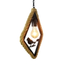 Rope Black Ceiling Light Round/Rhombus/Square 1 Light Industrial Pendant Lamp for Living Room with Bird Deco