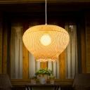 Nest Shaped Pendant Light Modern Bamboo 1 Light Beige Hanging Lamp for Dining Room