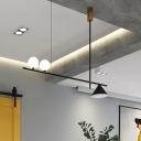 Linear Dining Room Hanging Island Light Metal 2 Lights Modern Pendant Chandelier in Black