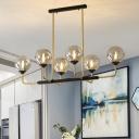 6/8 Lights Dining Room Island Lamp Contemporary Black Pendant Light with Globe Amber Glass Shade
