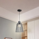 Minimalist Open Cage Pendant Light Fixture Metal 1 Light Indoor Suspension Lamp in Grey