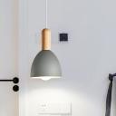 Flared Ceiling Lighting Nordic Metal 1 Bulb Grey Hanging Light Fixture for Bedroom