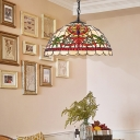 Domed Cut Glass Suspension Lighting Fixture Tiffany 1 Light Black/Red Ceiling Pendant Light for Dining Room