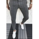 New Stylish Grid Pattern Zipper Fly Skinny Fit Pencil Pants for Men