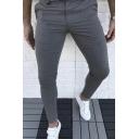 Simple Fashion Plain Zipper Placket Mid-Rised Leisure Trousers Skinny Pencil Pants