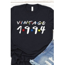 Womens Simple Letter VINTAGE 1994 Print Short Sleeve Leisure Daily T-Shirt