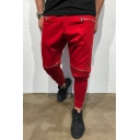 Metrosexual Mens Unique Pleated Detail Zipper Decoration Skinny Fit Solid Color Pencil Pants