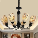 Curved Arm Chandelier Light Fixture Mediterranean Cut Glass 3/6/8 Lights Beige Suspension Pendant for Living Room