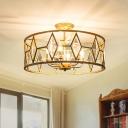 6-Light Study Room Ceiling Flush Mount Modern Gold Semi Flush Mount Lighting Fixture with Drum Metal Shade