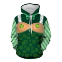 Spoof Lucky Four Leaf Clover 3D Print Striped Long Sleeve Green Drawstring Hoodie