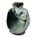 3D Red-eyed Wolves Pattern Long Sleeves Relaxed Gray and Black Drawstring Hoodie