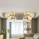 8 Bulbs Living Room Chandelier Lamp Modern Gold Hanging Ceiling Light with Globe Amber Glass Shade