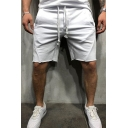 Sport Fashion Men's Simple Plain Drawstring Waist Loose Fit Active Shorts