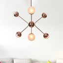 Amber Glass Bubble Chandelier Light Contemporary 6 Heads Rose Gold Pendant Lighting Fixture