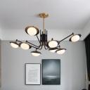 Sputnik Ceiling Chandelier Contemporary Metal 8 Bulbs Black-Gold Hanging Pendant Light