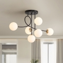 Metal Armed Pendant Chandelier Modern 6 Heads Gold/Black Hanging Light Kit with Milk/Cognac/Smoke Glass Shade