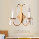 Metal Candelabra Wall Mount Lamp Traditional-Style 2 Lights Living Room Sconce in Gold