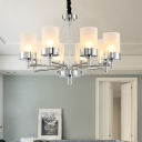 8 Heads Dining Room Chandelier Lamp Modern Chrome Hanging Light Kit with Cylindrical Frosted Glass Shade