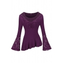 Retro Women's Bell Sleeve Round Neck Floral Print Lace Patched Pleated Asymmetric Hem Fitted Plain T-Shirt