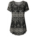 Women's Ethnic Short Sleeve Round Neck Floral Patterned Pleated Loose Fit T Shirt