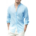 Solid Color Stand Collar Long Sleeves Button Up Relaxed Fit Linen Shirt for Men