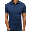 Summer Casual Men's Solid Color Short Sleeves Button-Up Fitted Shirt for Men