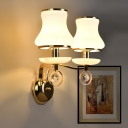 Modernist 2 Bulbs Wall Lighting Gold Flower Sconce Light Fixture with White Ribbed Glass Shade