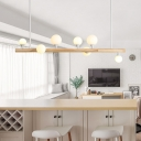 Beige Straight Island Light Asia 7 Heads Wood Pendant Lighting Fixture for Dining Room