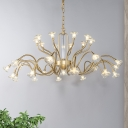 Crystal Curved Arm Chandelier Lamp Classic 25/31 Lights Living Room Hanging Light Fixture in Gold