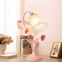 1 Bulb Bell Table Lamp Traditional Pink Frosted White Glass Night Light for Bedroom