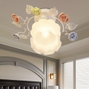 White1 Head Semi Flush Light Traditionalism Sandblasted Glass Rose Ceiling Fixture for Hallway