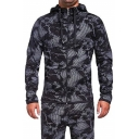 New Fashion Abstract Pattern Long Sleeves Zip-Up Regular Fit Drawstring Hoodie