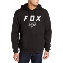 Men's Simple Letter FOX Print Long Sleeves Regular Fit Graphic Pullover Hoodie