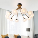 Circular Semi Flush Light Modernist Frosted Glass 8/10 Bulbs Ceiling Mounted Fixture in Black-Gold