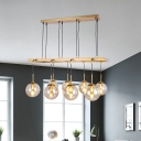 Brass Global Island Light Contemporary 8 Heads Clear Glass Pendant Lighting Fixture