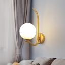 Round Wall Lamp Modernism Milky Glass 1 Head 6
