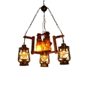 4 Lights Clear Glass Pendant Chandelier Warehouse Dark Brown Kerosene Dining Room Hanging Light