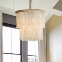 White Two-Tiered Hanging Chandelier Rustic Crystal 4 Lights Bedroom Suspension Pendant