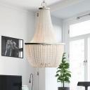 3 Lights Beaded Chandelier Lighting Rustic White Crystal Ceiling Pendant Light for Bedroom