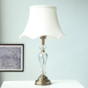 White Bell Table Lamp Antique Clear K9 Crystal Single Head Restaurant Nightstand Light