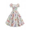 Vintage Girls' Puff Sleeve Square Neck All Over Candy Print Long Pleated Swing Dress