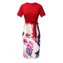 Women's Formal Short Sleeve Crew Neck Zip Back Bow Tie Waist Floral Patched Patched Midi Tight Dress